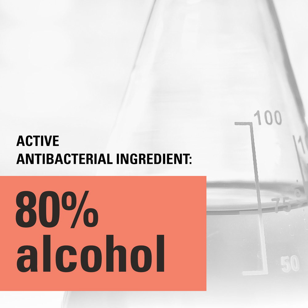 Active antibacterial ingredient: 80% alcohol