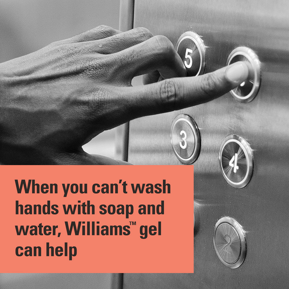 When you can't wash hands with soap and water, Williams gel can help
